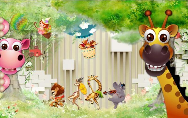 Зверушки-музыканты и дети на воздушном шаре